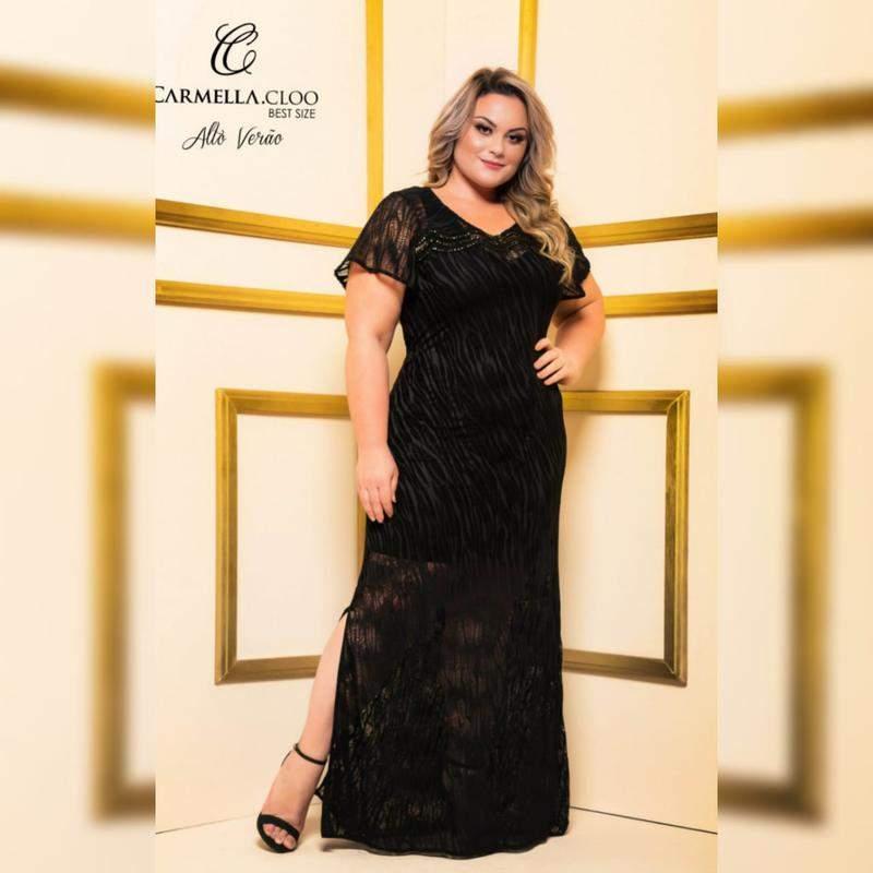 b1c98723959d Vestido de festa plus size - R$ 299.90 (de renda, de renda longo, de ...
