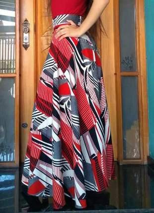 Saia longa godê de linho moda evangelica