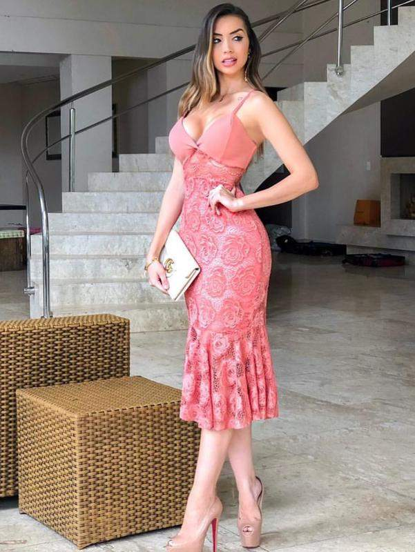 Vestido Midi Renda Salmao Goiaba Coral R 15500 Shafa O Melhor Da Moda Feminina