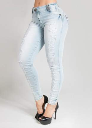 Calça cigarrete jeans claro pit bull