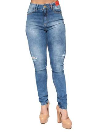 Calça cigarrete washed jeans gatabakana