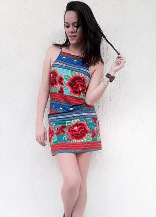 Vestido alcinha geométrico com floral