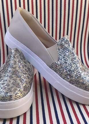 Lindo sapatenis tênis feminino slip on onça bege glitter