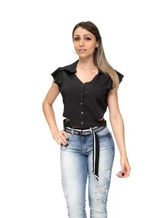 Camisa cropped preta gatabakana