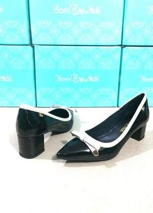 Sapato scarpin sintético salto bloco
