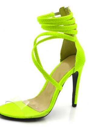 Sandália salto alto meia cana em napa amarela neon com transparência