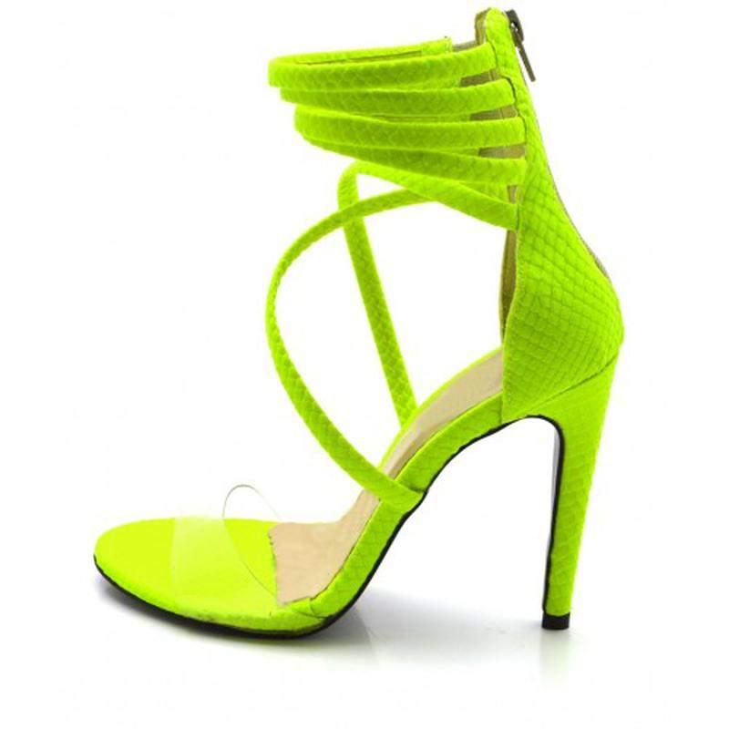 d36a8bfa8c ... Sandália salto alto meia cana em napa amarela neon com transparência2  ...