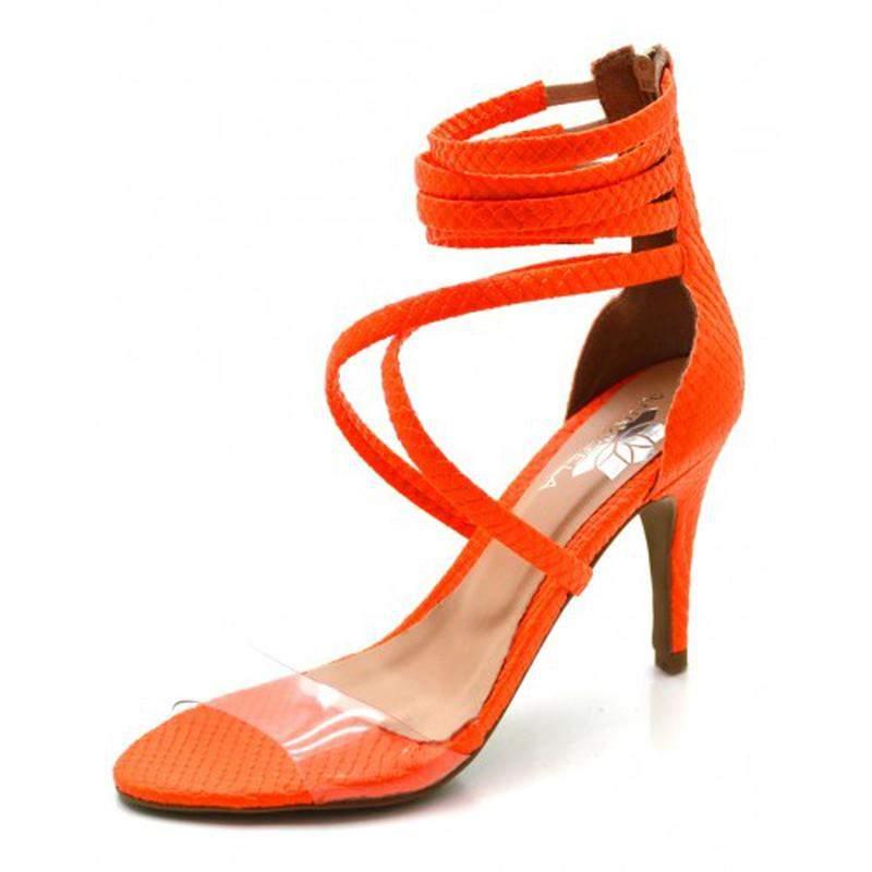 8e1be1e429 Sandália salto alto meia cana em napa neon laranja com transparência1 ...