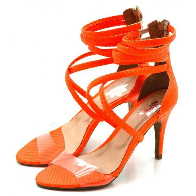 58c4e371e6 ... Sandália salto alto meia cana em napa neon laranja com transparência4