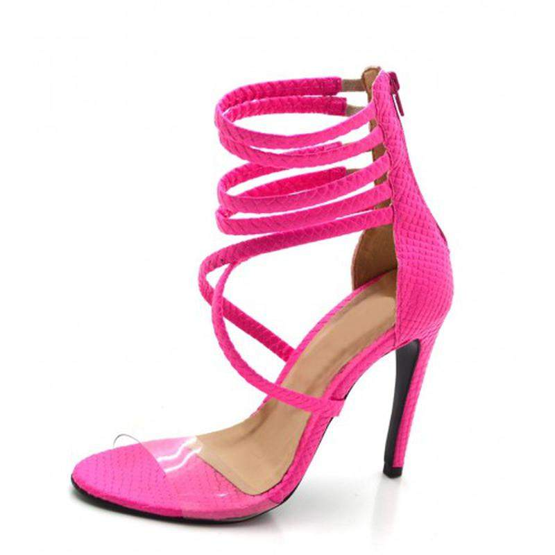 2c5a393e3b Sandália salto alto meia cana em napa pink neon com transparência1 ...