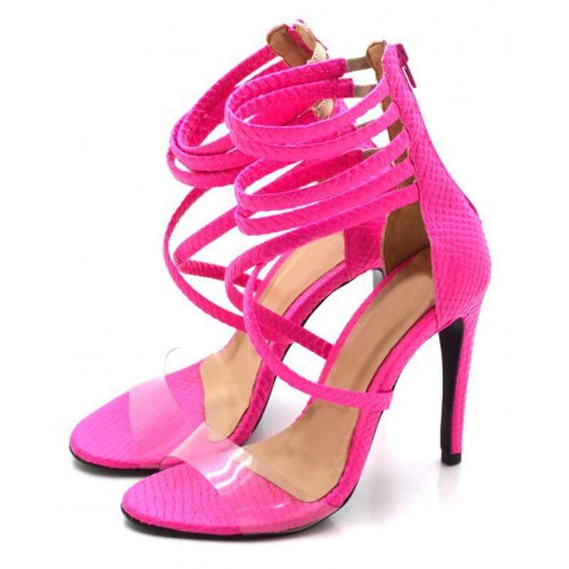 b82e391d03 ... transparência2  Sandália salto alto meia cana em napa pink neon com  transparência3 ...