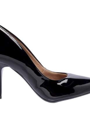 Sapato social feminino scarpins preto salto medio fino 7 cm