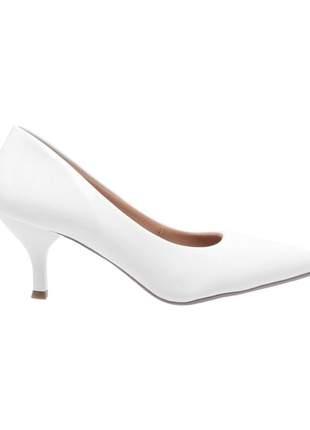 Sapato social feminino scarpin branco salto baixo fino