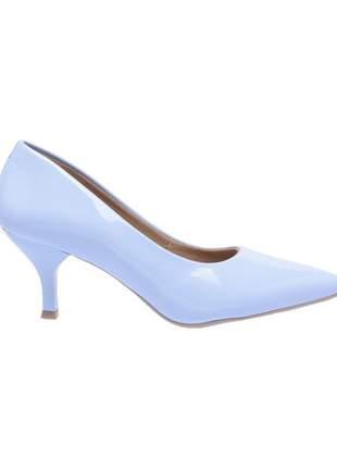 Sapato social feminino scarpin azul claro salto baixo fino