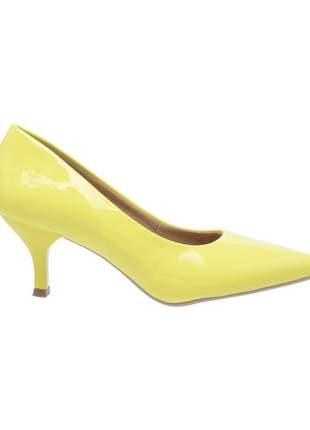 Sapato social feminino scarpin amarelo salto baixo fino