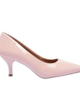 Sapato social feminino scarpins rosa salto baixo fino