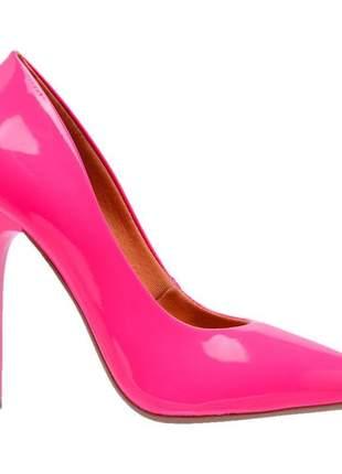 Sapato social feminino scarpins rosa neon salto alto fino