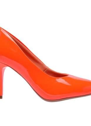 Sapato social feminino scarpins laranja neon salto medio fino