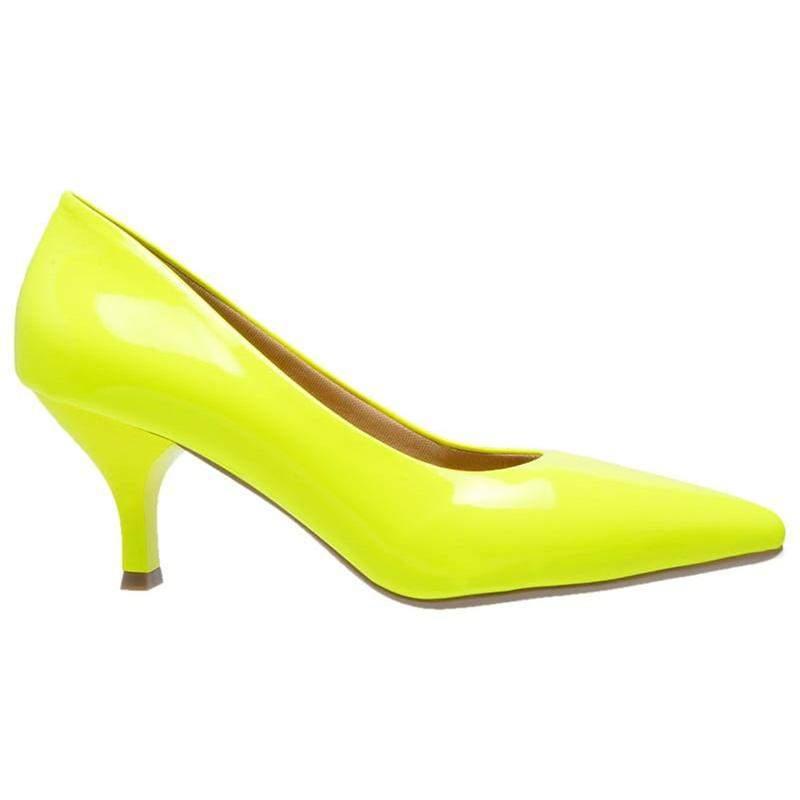 d804047724 Sapato social feminino scarpin amarelo neon salto baixo fino - R ...