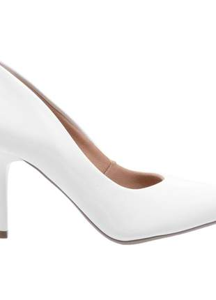 Sapato social feminino scarpin branco salto medio fino