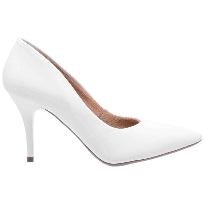 033edae848 Sapato social feminino scarpin branco salto medio fino - R  99.90 ...