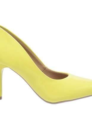 Sapato social feminino scarpin amarelo salto medio fino