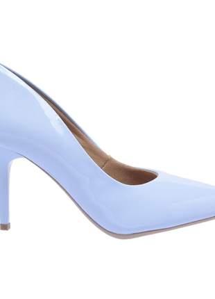 Sapato social feminino scarpin azul claro salto medio fino