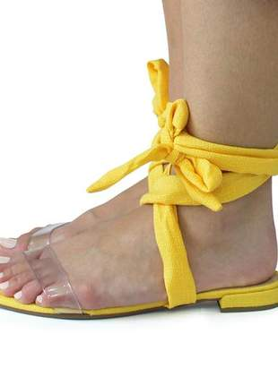 Sandalia rasteirnha com amarração amarela dali shoes