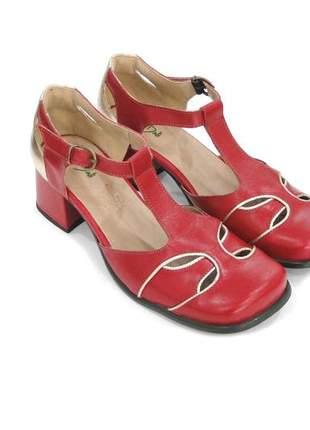 Sapato feminino boneca de couro vermelho dali  shoes