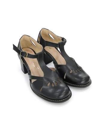 Sapato feminino boneca de couro preto dali  shoes