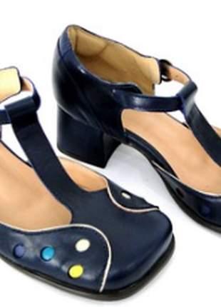 Sapato feminino boneca de couro azul marinho dali  shoes