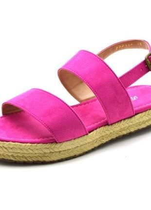 Sandália anabela rasteira aberta flat avarca em camurçado rosa pink