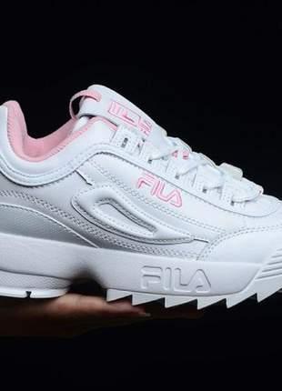 Tênis fila disruptor branco feminino bordado rosa