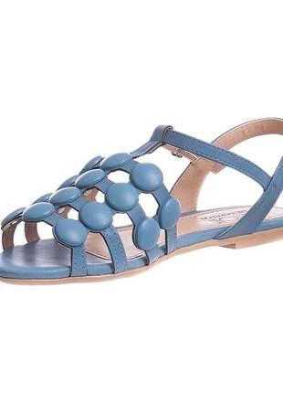 Sandália rasteira azul denim esferas - 3441.40702