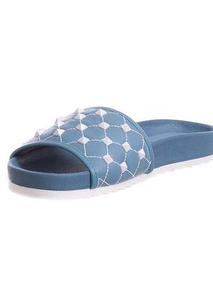 Slide azul denim com spikers - 3513.5294