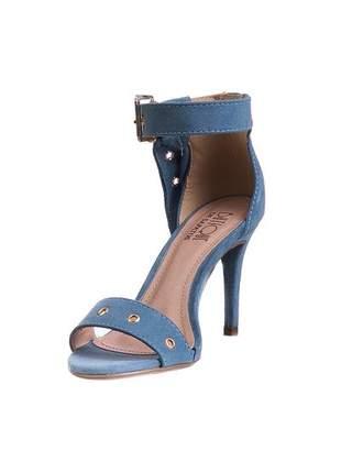 Sandália salto fino tira azul denim pingente - 7573.16637