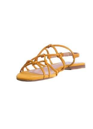 Sandália rasteira amarela nós - 7722.18509
