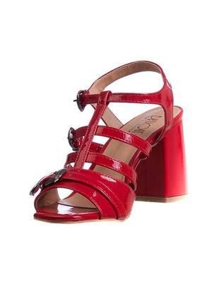 Sandália salto grosso vermelho ferrari fivelas - 285-a.4081