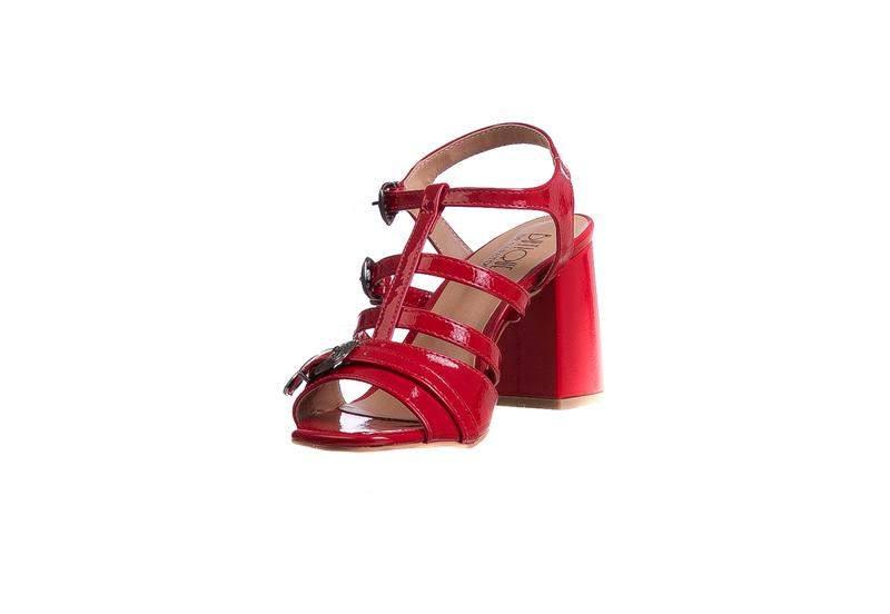 d8922e09a Sandália salto grosso vermelho ferrari fivelas - 285-a.4081 - R ...