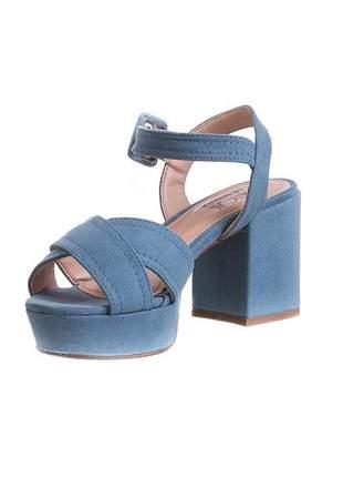 Sandália meia pata suede azul denim - 7658.17005
