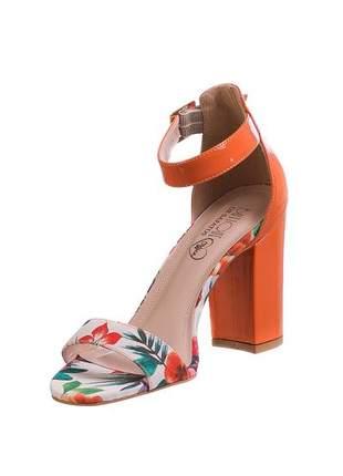 Sandália elisa salto grosso laranja - 101.1005