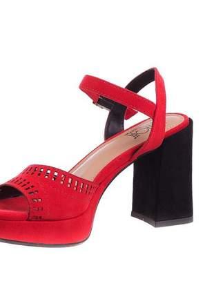 Sandália meia pata suede vermelha salto preto - 314-1692