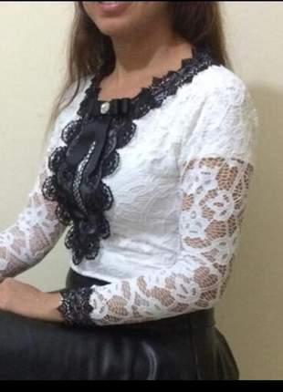 Blusa em renda manga longa feminina moda evangelica