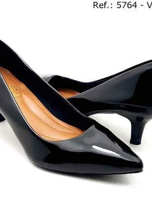 Sapato feminino scarpin sobressalto salto baixo verniz preto