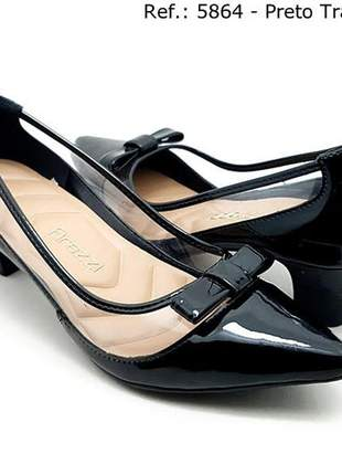 Sapato feminino scarpin firezzi verniz  preto com tasparencia