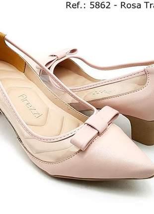 Sapato feminino scarpin firezzi verniz  rose com transparecia