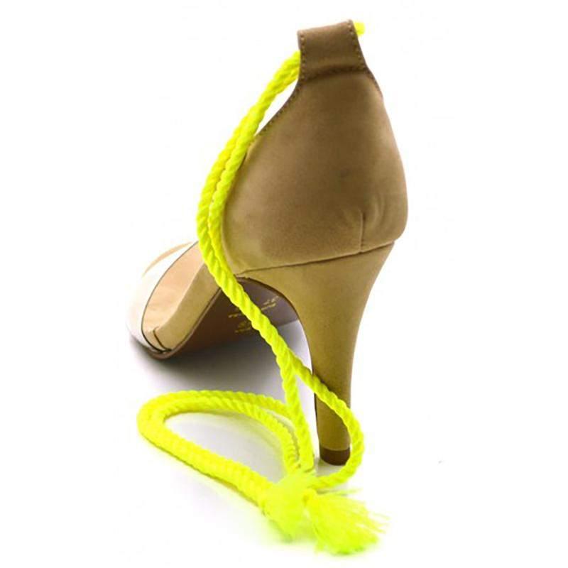 Sandália Feminina Social Salto Alto Nude com Corda Amarelo