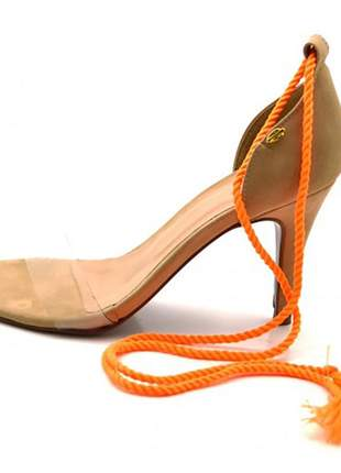 Sandália feminina social salto alto e nude com corda dupla