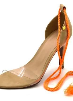 Sandália feminina social salto  nude com corda laranja neon