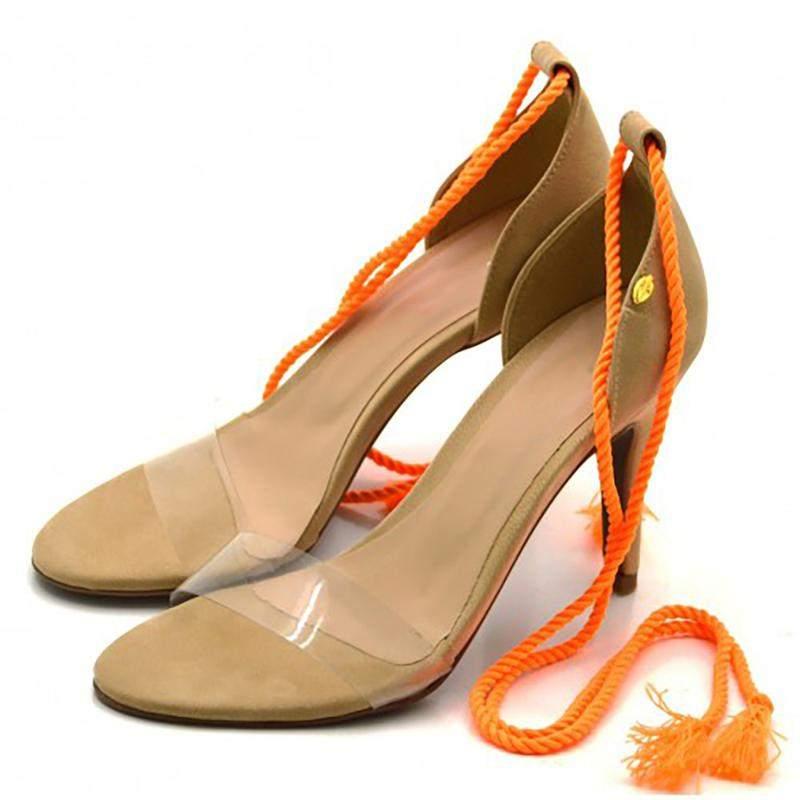 Sandália meia pata salto alto fino feminino confort - R